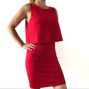 NWT🔥 Dynamite Double Layer Bodycon Red Dress 🔥